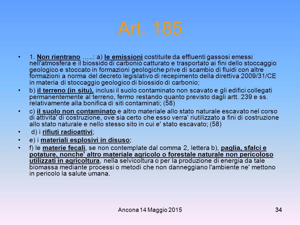 Ancona 14 Maggio 201534 Art. 185 1. Non rientrano …..: a) le emissioni costituite da effluenti gassosi emessi nell'atmosfera e il biossido di carbonio
