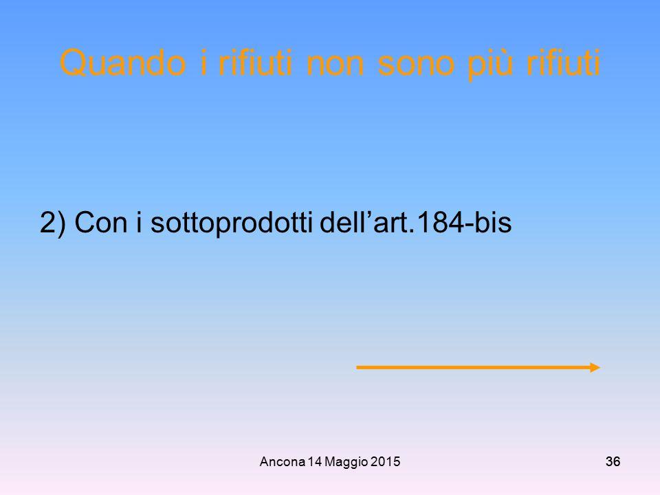 Ancona 14 Maggio 201536 Quando i rifiuti non sono più rifiuti 2) Con i sottoprodotti dell'art.184-bis