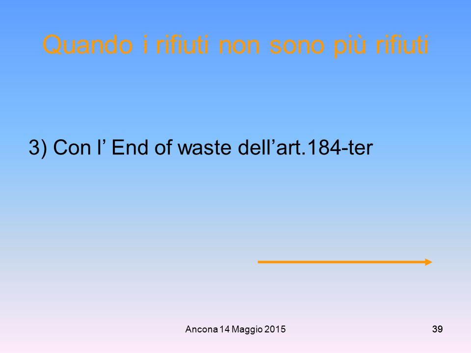 Ancona 14 Maggio 201539 Quando i rifiuti non sono più rifiuti 3) Con l' End of waste dell'art.184-ter