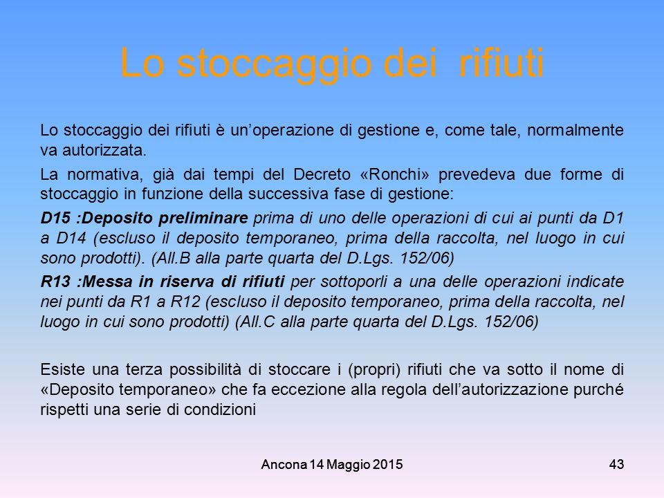 Ancona 14 Maggio 201543 Lo stoccaggio dei rifiuti Lo stoccaggio dei rifiuti è un'operazione di gestione e, come tale, normalmente va autorizzata. La n