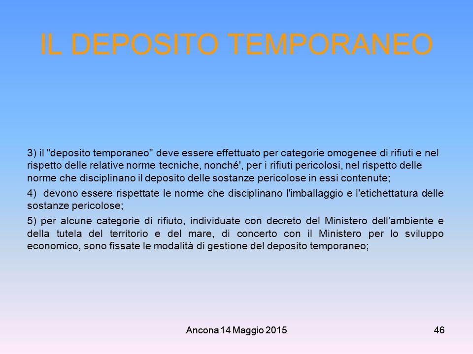 Ancona 14 Maggio 201546 IL DEPOSITO TEMPORANEO 3) il