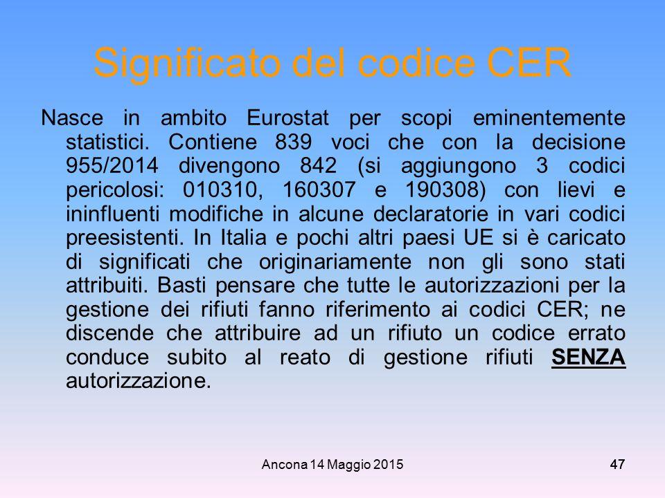 Ancona 14 Maggio 201547 Significato del codice CER Nasce in ambito Eurostat per scopi eminentemente statistici. Contiene 839 voci che con la decisione