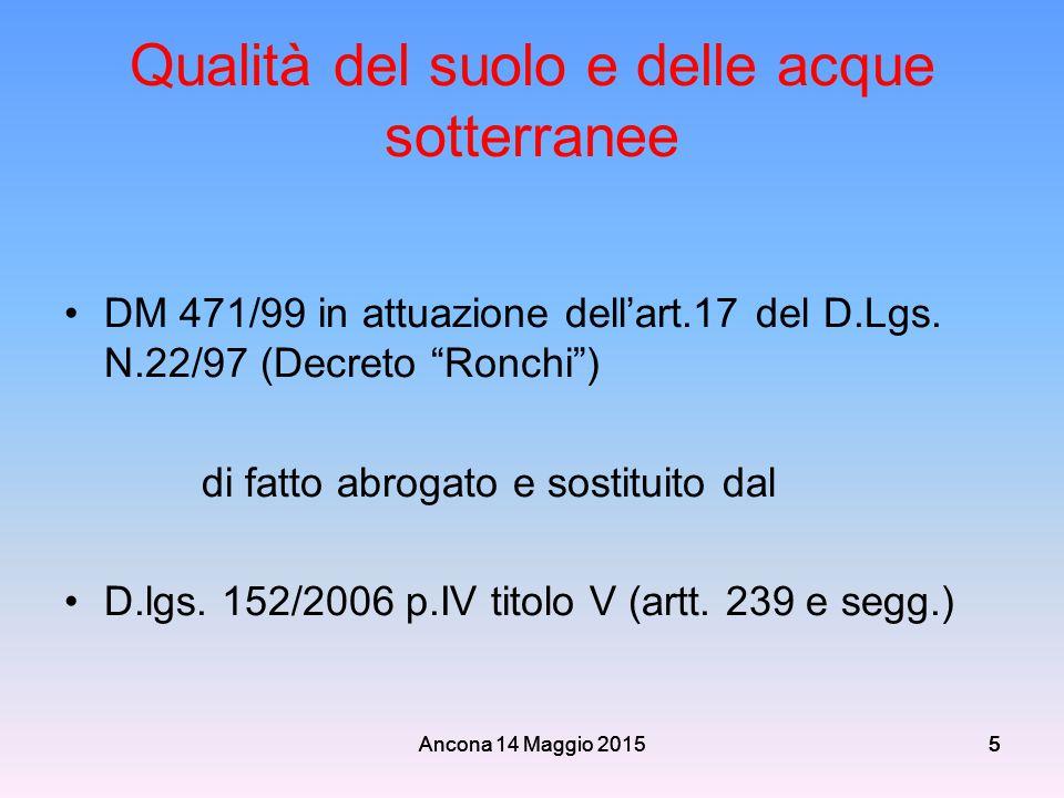"""Ancona 14 Maggio 2015555 5 Qualità del suolo e delle acque sotterranee DM 471/99 in attuazione dell'art.17 del D.Lgs. N.22/97 (Decreto """"Ronchi"""") di fa"""
