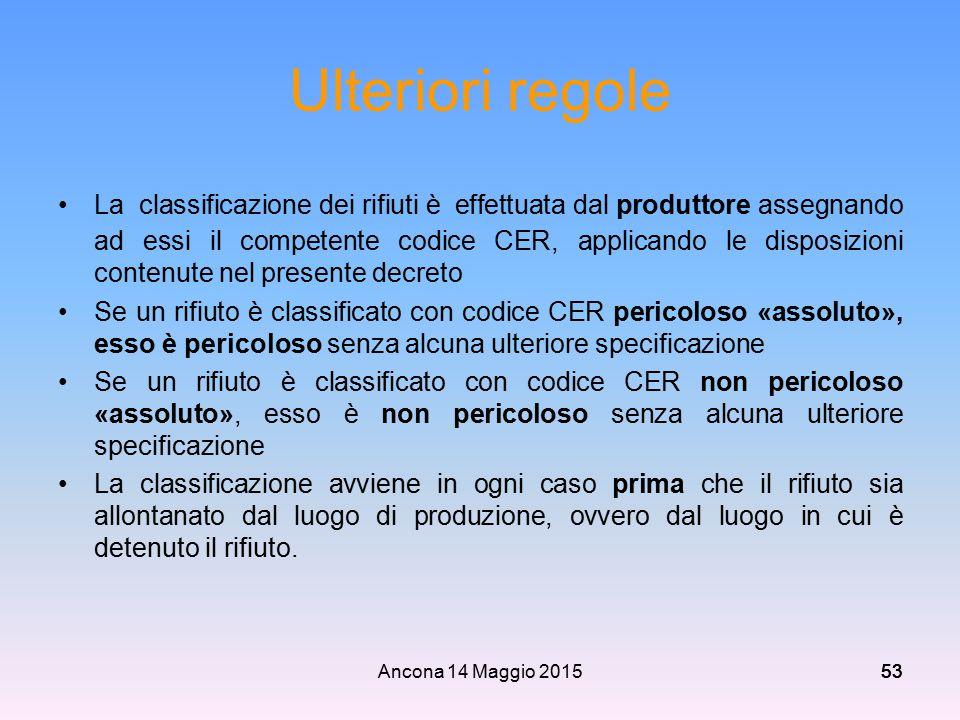 Ancona 14 Maggio 201553 Ulteriori regole La classificazione dei rifiuti è effettuata dal produttore assegnando ad essi il competente codice CER, appli