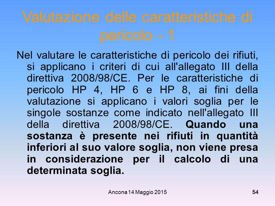 Ancona 14 Maggio 201554 Valutazione delle caratteristiche di pericolo - 1 Nel valutare le caratteristiche di pericolo dei rifiuti, si applicano i crit