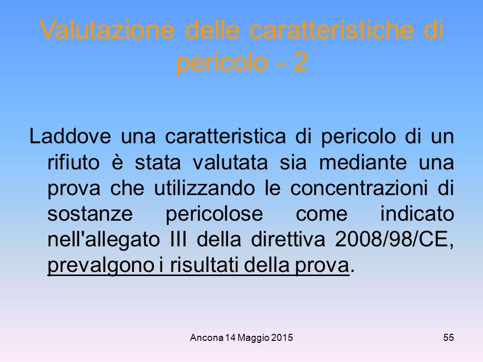 Ancona 14 Maggio 201555 Valutazione delle caratteristiche di pericolo - 2 Laddove una caratteristica di pericolo di un rifiuto è stata valutata sia me