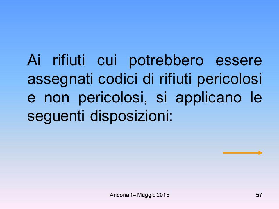 Ancona 14 Maggio 201557 Ai rifiuti cui potrebbero essere assegnati codici di rifiuti pericolosi e non pericolosi, si applicano le seguenti disposizion