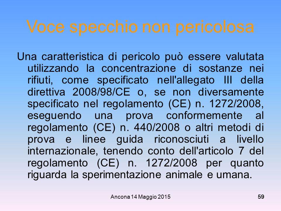 Ancona 14 Maggio 201559 Voce specchio non pericolosa Una caratteristica di pericolo può essere valutata utilizzando la concentrazione di sostanze nei