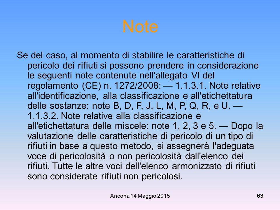 Ancona 14 Maggio 201563 Note Se del caso, al momento di stabilire le caratteristiche di pericolo dei rifiuti si possono prendere in considerazione le