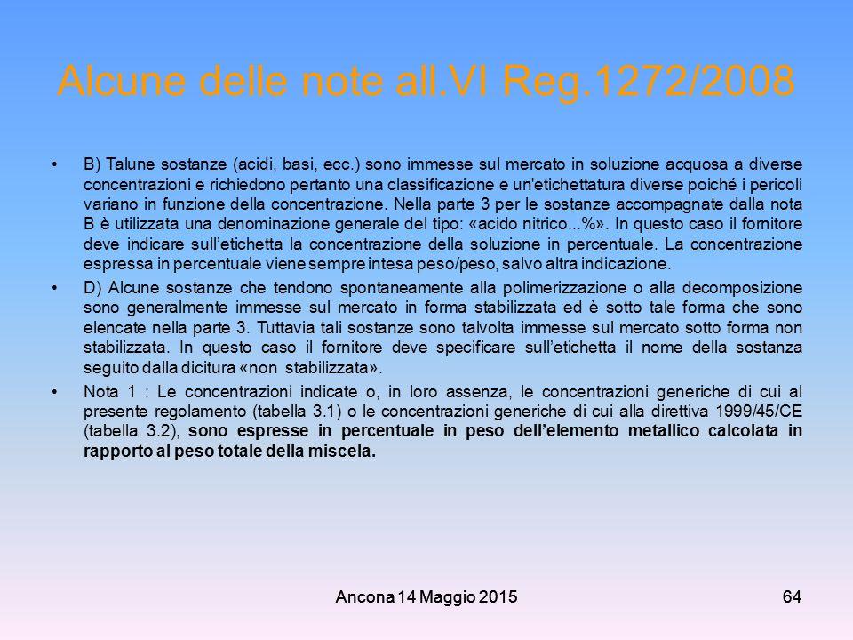 Ancona 14 Maggio 201564 Alcune delle note all.VI Reg.1272/2008 B) Talune sostanze (acidi, basi, ecc.) sono immesse sul mercato in soluzione acquosa a