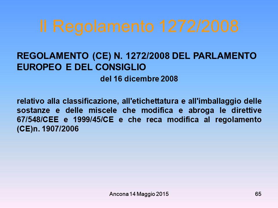 Ancona 14 Maggio 201565 Il Regolamento 1272/2008 REGOLAMENTO (CE) N. 1272/2008 DEL PARLAMENTO EUROPEO E DEL CONSIGLIO del 16 dicembre 2008 relativo al