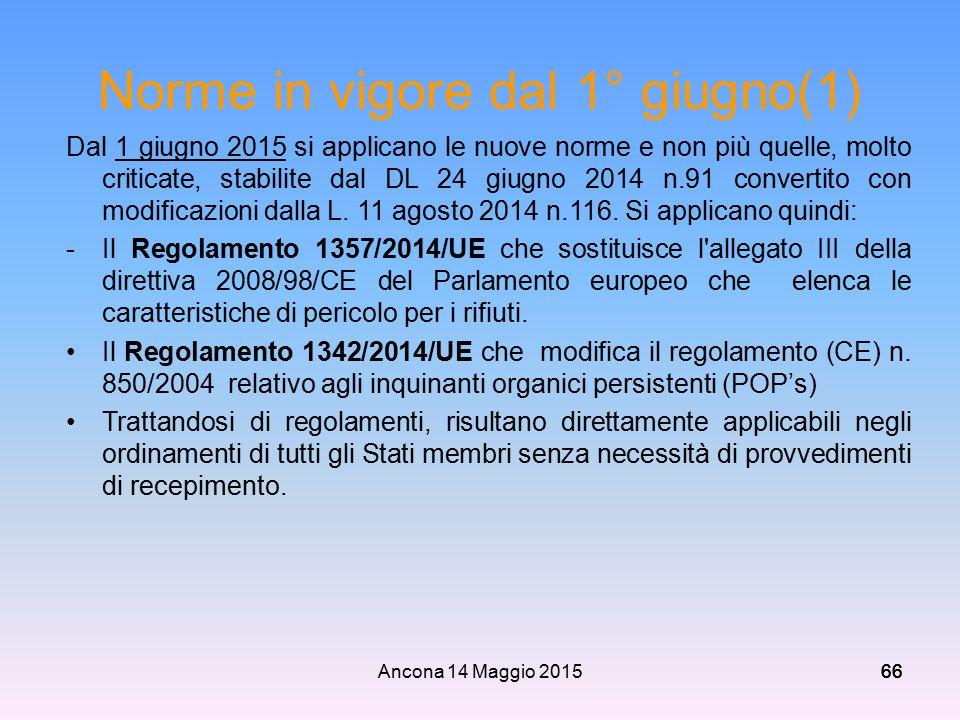 Ancona 14 Maggio 201566 Norme in vigore dal 1° giugno(1) Dal 1 giugno 2015 si applicano le nuove norme e non più quelle, molto criticate, stabilite da