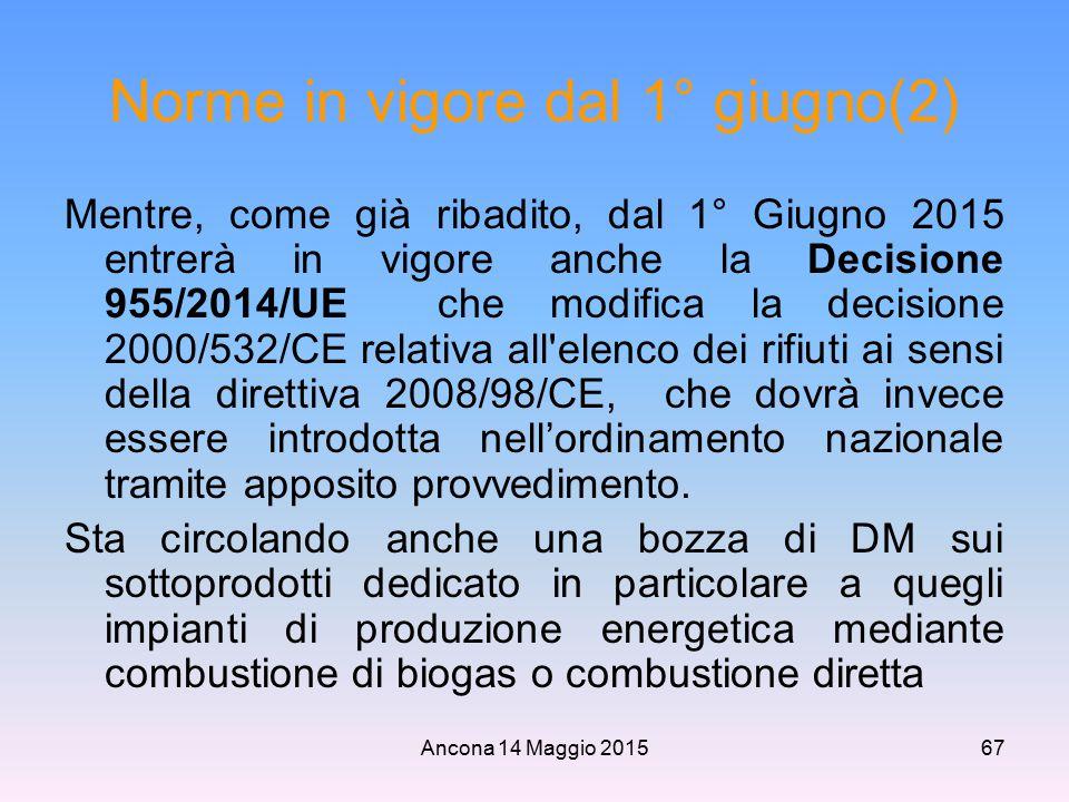 Ancona 14 Maggio 201567 Norme in vigore dal 1° giugno(2) Mentre, come già ribadito, dal 1° Giugno 2015 entrerà in vigore anche la Decisione 955/2014/U