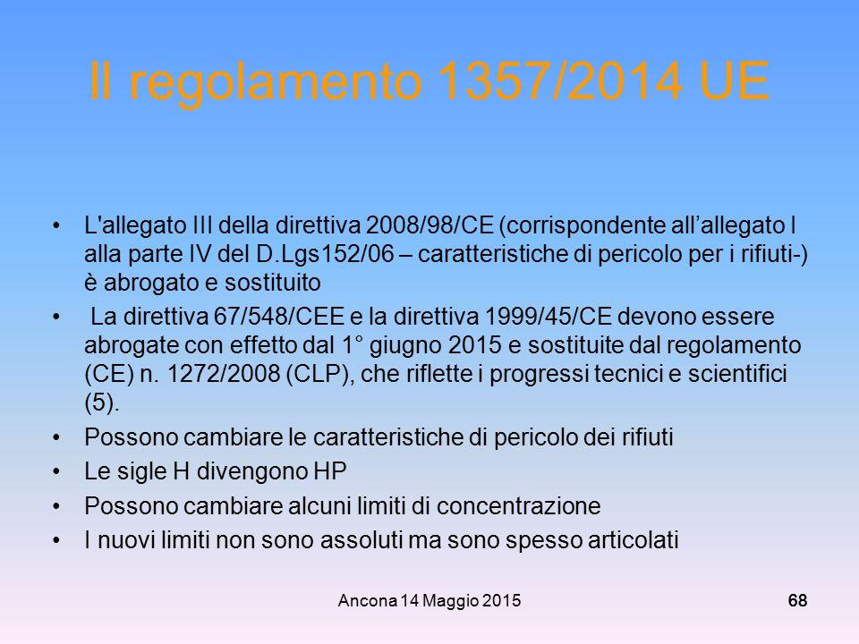 Ancona 14 Maggio 201568 Il regolamento 1357/2014 UE L'allegato III della direttiva 2008/98/CE (corrispondente all'allegato I alla parte IV del D.Lgs15