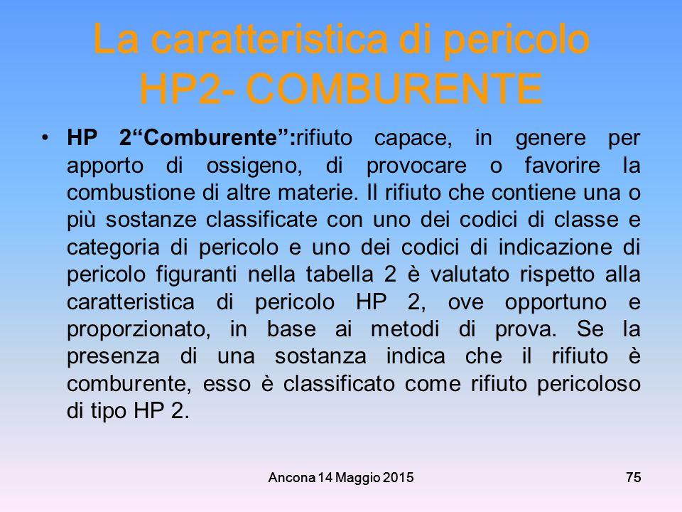 """Ancona 14 Maggio 201575 La caratteristica di pericolo HP2- COMBURENTE HP 2""""Comburente"""":rifiuto capace, in genere per apporto di ossigeno, di provocare"""