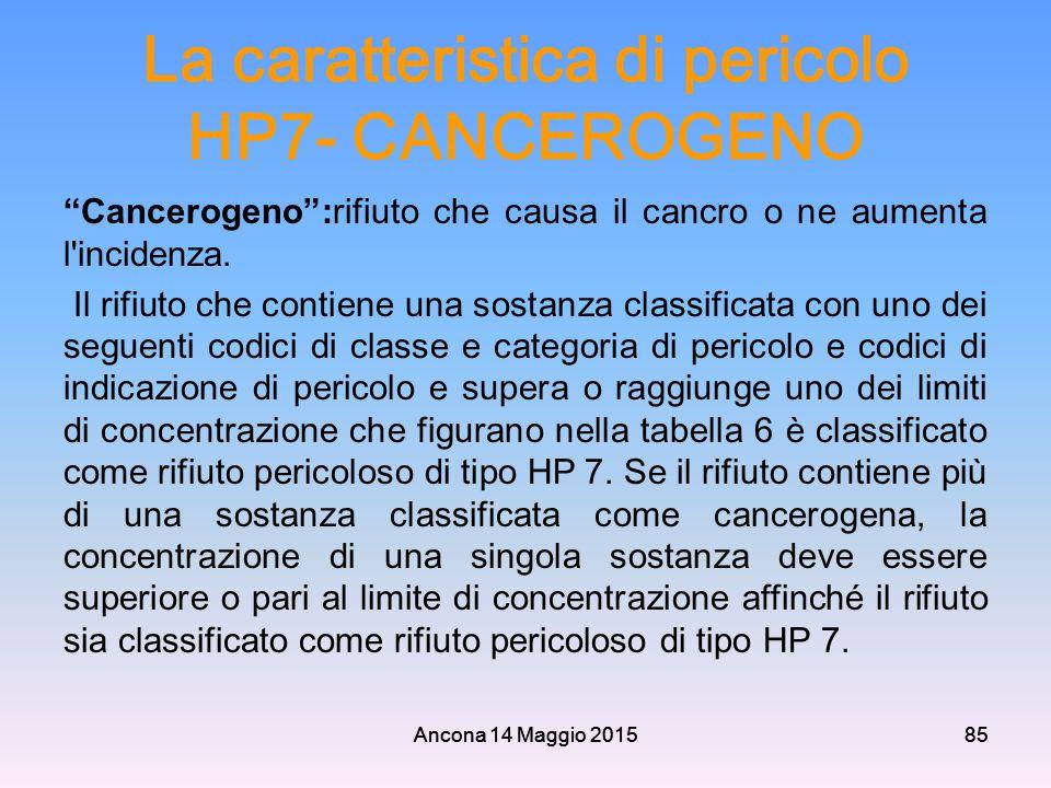 """Ancona 14 Maggio 201585 La caratteristica di pericolo HP7- CANCEROGENO """"Cancerogeno"""":rifiuto che causa il cancro o ne aumenta l'incidenza. Il rifiuto"""