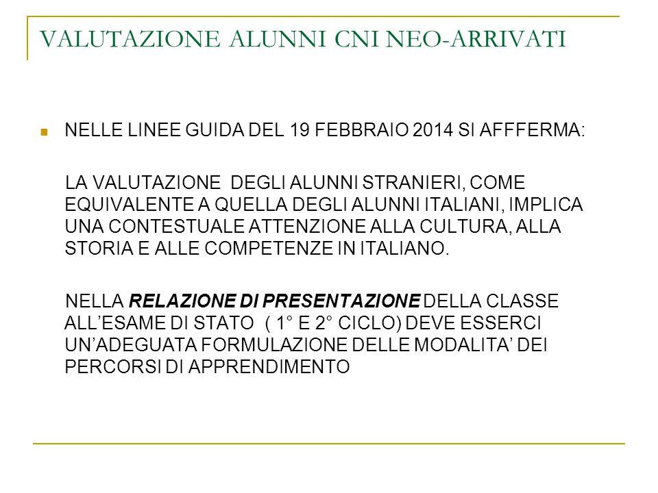VALUTAZIONE ALUNNI CNI NEO-ARRIVATI NELLE LINEE GUIDA DEL 19 FEBBRAIO 2014 SI AFFFERMA: LA VALUTAZIONE DEGLI ALUNNI STRANIERI, COME EQUIVALENTE A QUELLA DEGLI ALUNNI ITALIANI, IMPLICA UNA CONTESTUALE ATTENZIONE ALLA CULTURA, ALLA STORIA E ALLE COMPETENZE IN ITALIANO.