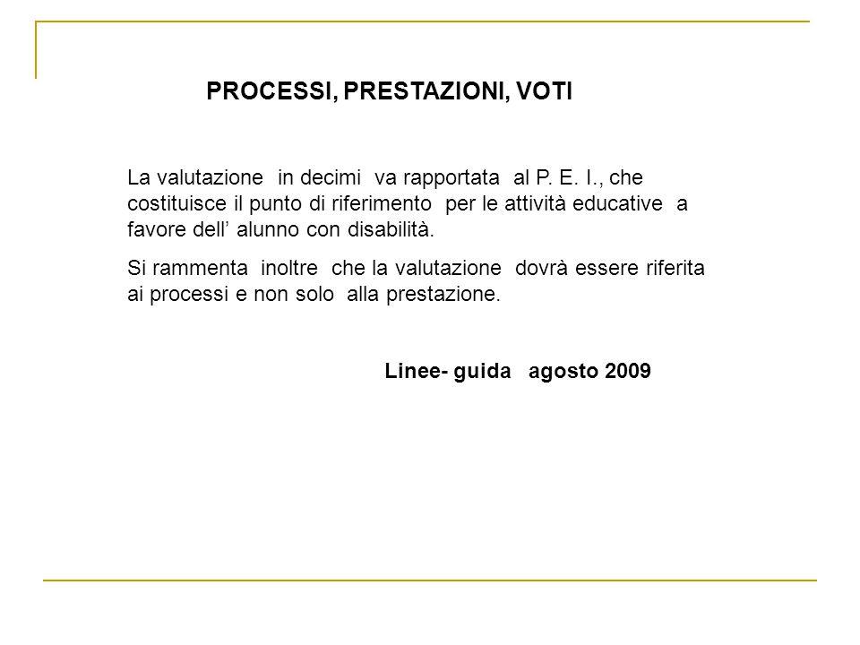 PROCESSI, PRESTAZIONI, VOTI La valutazione in decimi va rapportata al P. E. I., che costituisce il punto di riferimento per le attività educative a fa