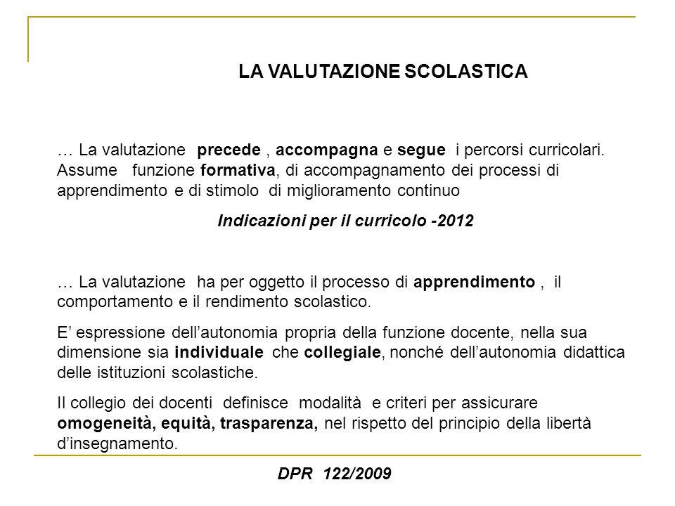 LA VALUTAZIONE SCOLASTICA … La valutazione precede, accompagna e segue i percorsi curricolari.