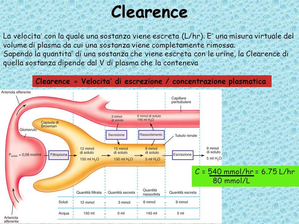Clearence La velocita' con la quale una sostanza viene escreta (L/hr).