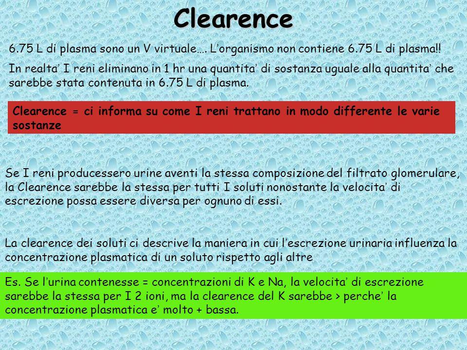 Clearence 6.75 L di plasma sono un V virtuale….L'organismo non contiene 6.75 L di plasma!.