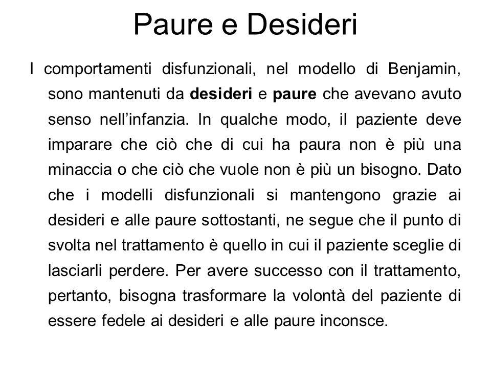 Paure e Desideri I comportamenti disfunzionali, nel modello di Benjamin, sono mantenuti da desideri e paure che avevano avuto senso nell'infanzia. In