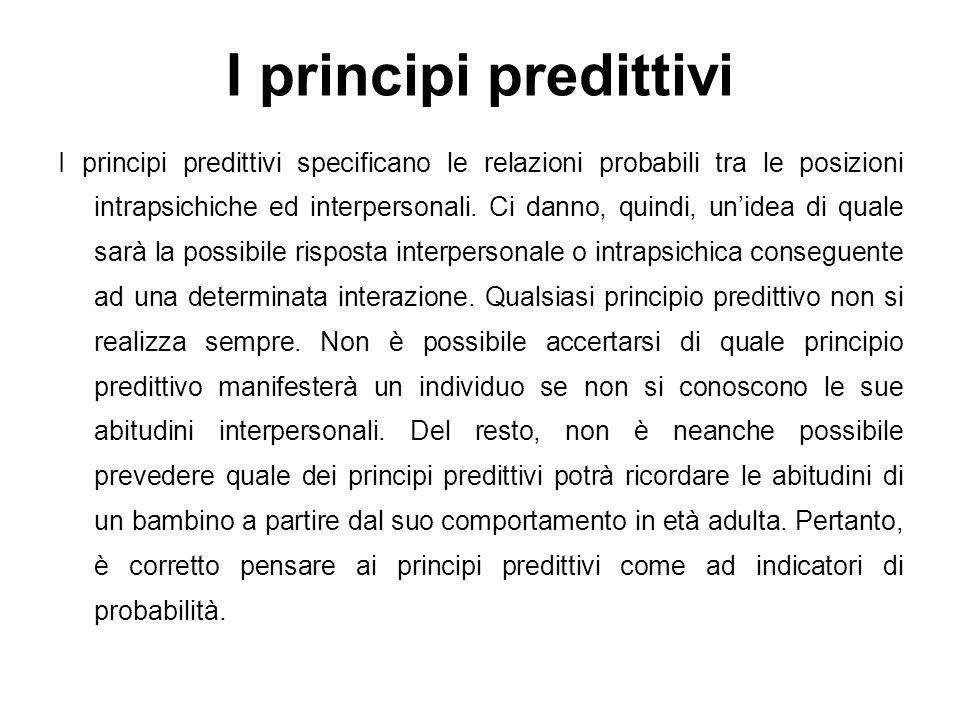 I principi predittivi I principi predittivi specificano le relazioni probabili tra le posizioni intrapsichiche ed interpersonali. Ci danno, quindi, un