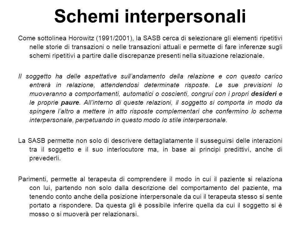 Come sottolinea Horowitz (1991/2001), la SASB cerca di selezionare gli elementi ripetitivi nelle storie di transazioni o nelle transazioni attuali e p
