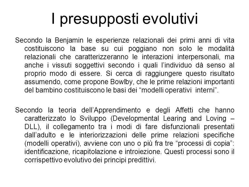 I presupposti evolutivi Secondo la Benjamin le esperienze relazionali dei primi anni di vita costituiscono la base su cui poggiano non solo le modalit