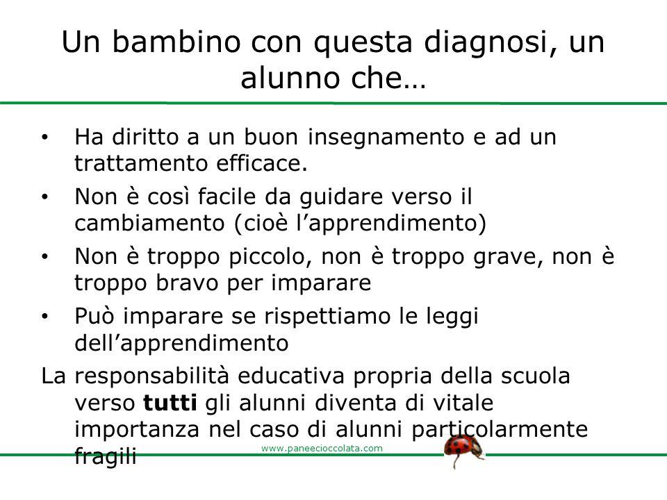 www.paneecioccolata.com Un bambino con questa diagnosi, un alunno che… Ha diritto a un buon insegnamento e ad un trattamento efficace. Non è così faci