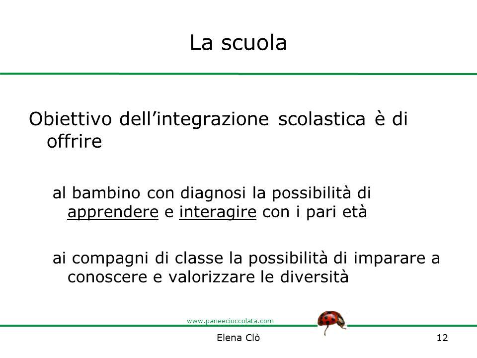www.paneecioccolata.com La scuola Obiettivo dell'integrazione scolastica è di offrire al bambino con diagnosi la possibilità di apprendere e interagir