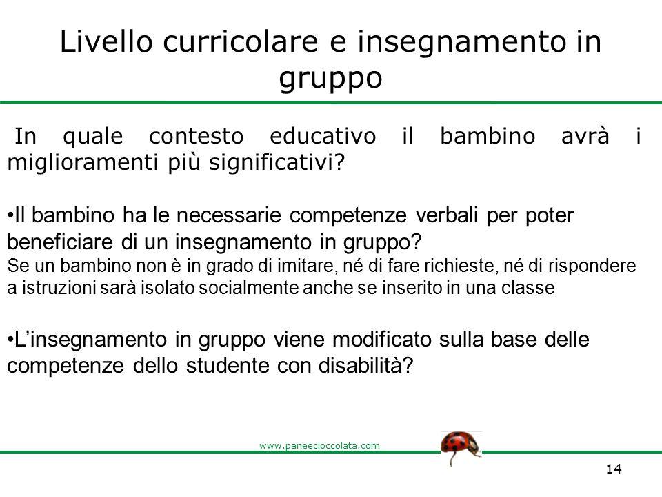 www.paneecioccolata.com Livello curricolare e insegnamento in gruppo 14 In quale contesto educativo il bambino avrà i miglioramenti più significativi?