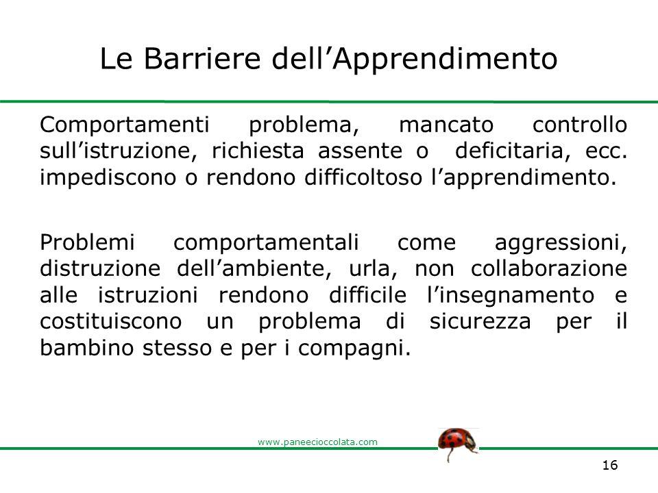 www.paneecioccolata.com Le Barriere dell'Apprendimento Comportamenti problema, mancato controllo sull'istruzione, richiesta assente o deficitaria, ecc