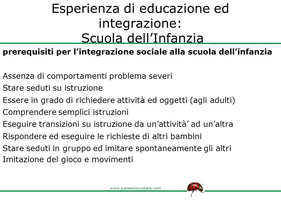 www.paneecioccolata.com Esperienza di educazione ed integrazione: Scuola dell'Infanzia prerequisiti per l'integrazione sociale alla scuola dell'infanz