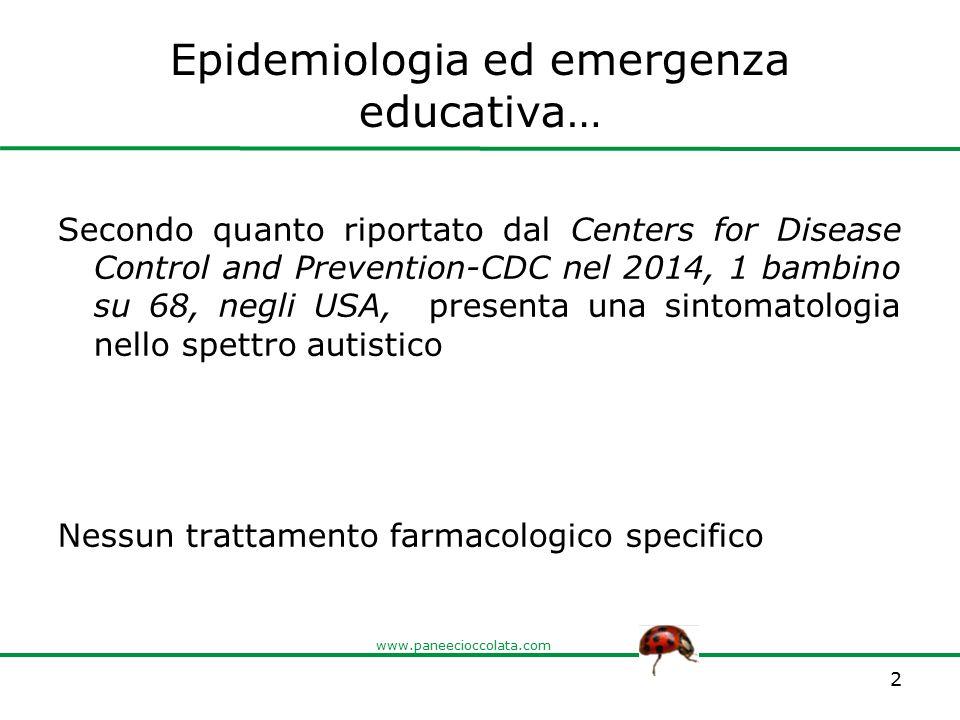 www.paneecioccolata.com Ad alto impatto… … un alunno nello spettro ogni tre-quattro classi, è il disturbo evolutivo più diffuso in età scolastica.