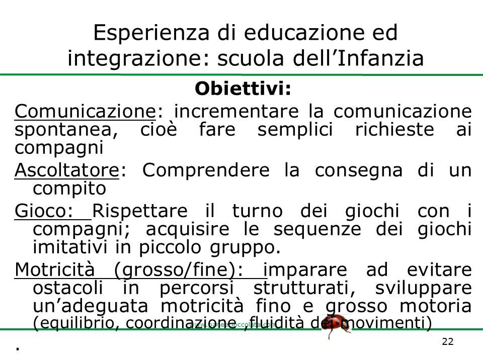 www.paneecioccolata.com Esperienza di educazione ed integrazione: scuola dell'Infanzia Obiettivi: Comunicazione: incrementare la comunicazione spontan