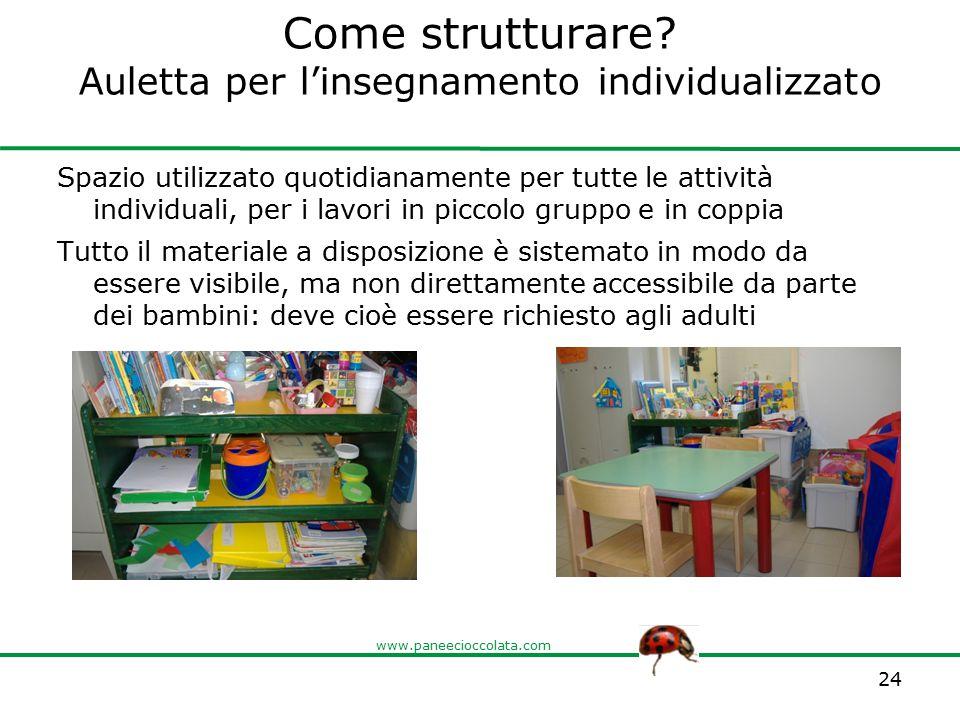 www.paneecioccolata.com Come strutturare? Auletta per l'insegnamento individualizzato Spazio utilizzato quotidianamente per tutte le attività individu