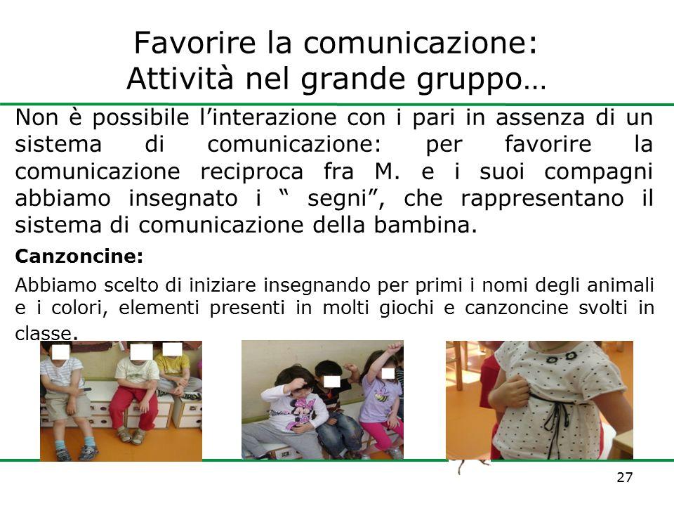 www.paneecioccolata.com Favorire la comunicazione: Attività nel grande gruppo… Non è possibile l'interazione con i pari in assenza di un sistema di co