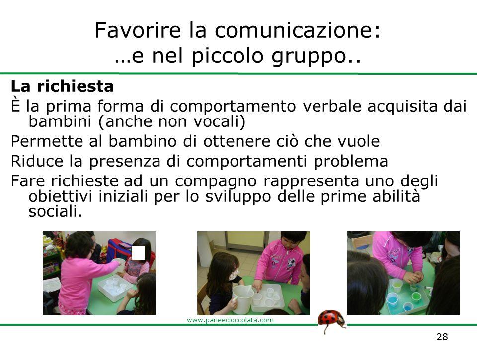www.paneecioccolata.com Favorire la comunicazione: …e nel piccolo gruppo.. La richiesta È la prima forma di comportamento verbale acquisita dai bambin