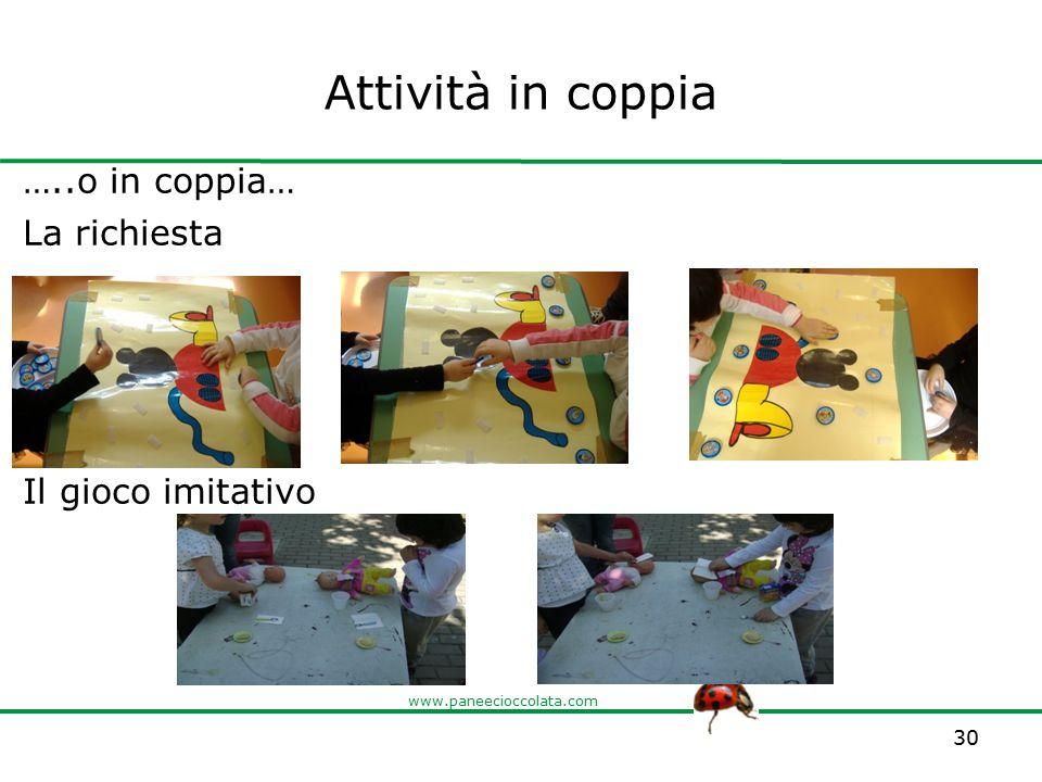 www.paneecioccolata.com Attività in coppia …..o in coppia… La richiesta Il gioco imitativo 30
