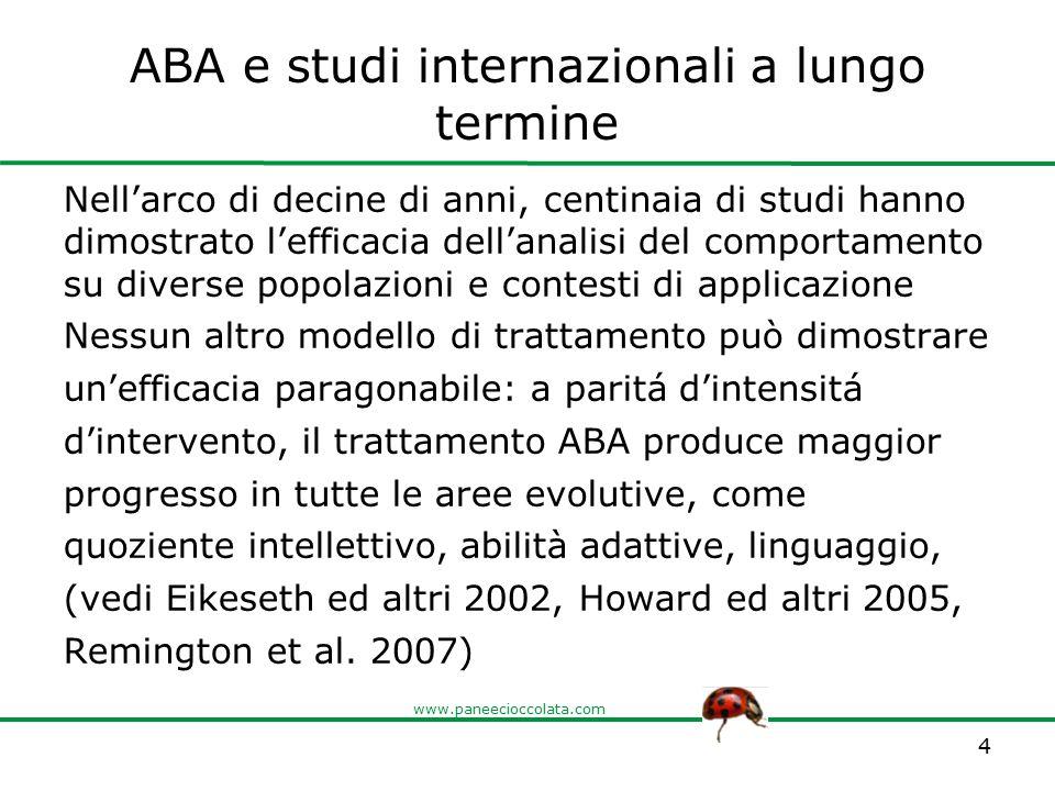 www.paneecioccolata.com ABA e studi internazionali a lungo termine Nell'arco di decine di anni, centinaia di studi hanno dimostrato l'efficacia dell'a