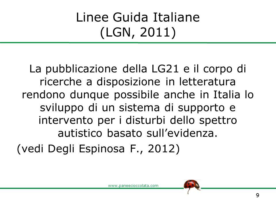 www.paneecioccolata.com Linee Guida Italiane (LGN, 2011) La pubblicazione della LG21 e il corpo di ricerche a disposizione in letteratura rendono dunq