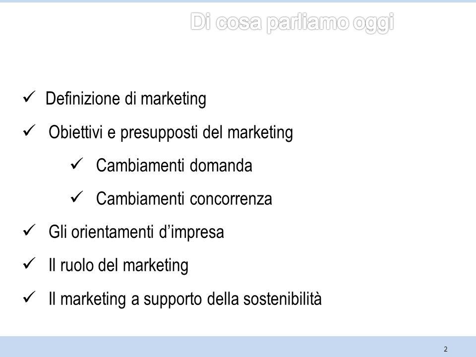 2 Definizione di marketing Obiettivi e presupposti del marketing Cambiamenti domanda Cambiamenti concorrenza Gli orientamenti d'impresa Il ruolo del marketing Il marketing a supporto della sostenibilità