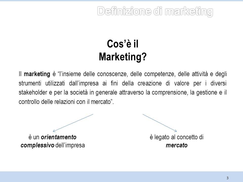3 Il marketing è l'insieme delle conoscenze, delle competenze, delle attività e degli strumenti utilizzati dall'impresa ai fini della creazione di valore per i diversi stakeholder e per la società in generale attraverso la comprensione, la gestione e il controllo delle relazioni con il mercato .