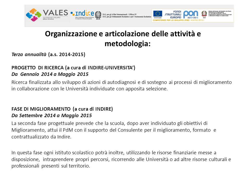Terza annualità (a.s. 2014-2015) PROGETTO DI RICERCA (a cura di INDIRE-UNIVERSITA') Da Gennaio 2014 a Maggio 2015 Ricerca finalizzata allo sviluppo di