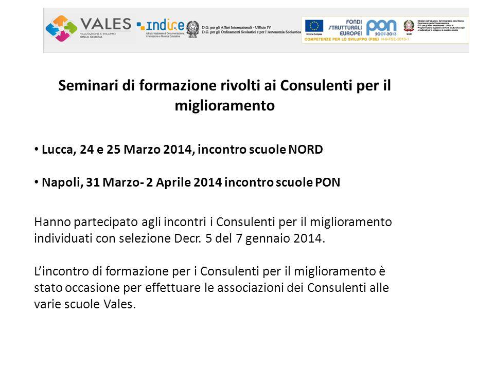 Seminari di formazione rivolti ai Consulenti per il miglioramento Lucca, 24 e 25 Marzo 2014, incontro scuole NORD Napoli, 31 Marzo- 2 Aprile 2014 inco