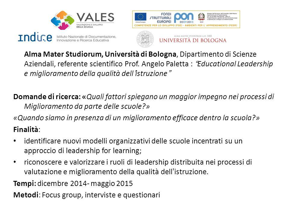 """Alma Mater Studiorum, Università di Bologna, Dipartimento di Scienze Aziendali, referente scientifico Prof. Angelo Paletta : """"Educational Leadership e"""