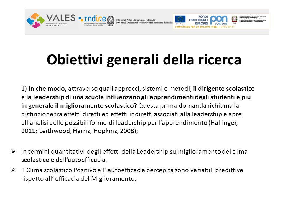 Obiettivi generali della ricerca 1) in che modo, attraverso quali approcci, sistemi e metodi, il dirigente scolastico e la leadership di una scuola in