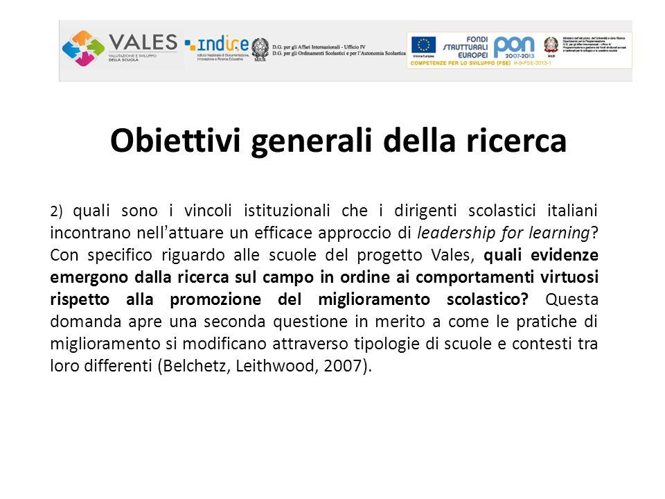 Obiettivi generali della ricerca 2) quali sono i vincoli istituzionali che i dirigenti scolastici italiani incontrano nell'attuare un efficace approcc