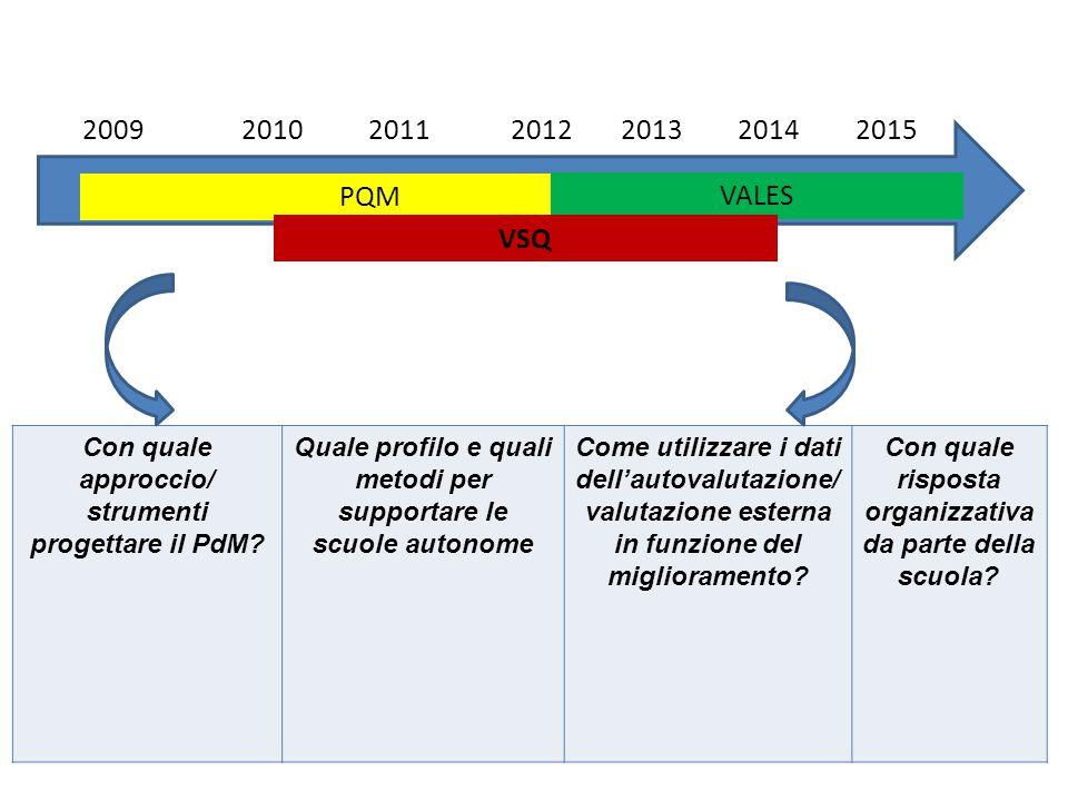 Fonti: PQM: Rapporto di monitoraggio per ciascuna annualità (2009/10, 2010/11, 2011/12, 2012/13) e complessivo sui 4 anni della sperimentazione VSQ: Indagine interna (2013) Rapporto finale sull'andamento della sperimentazione (Fondazione G.Agnelli) VALeS: Indagine quali/quantitativa in corso di svolgimento: elaborazione dei primi risultati qualitativi